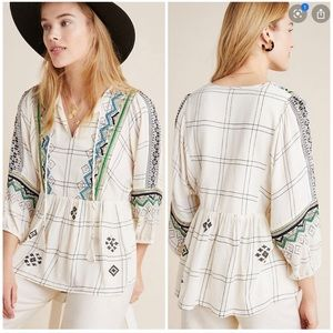 Anthropologie Vineet Bahl peasant top embroidered